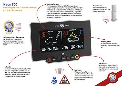Preisvergleich Produktbild Klimakurt satellitengestützte Funkwetterstation Neon 300 mit farbigem Display + GRATIS STABLEUCHTE carmesin