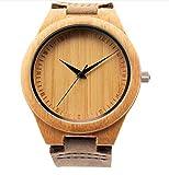 Mercimall BAB-01 a mano in legno naturale orologio unisex con cinturino in pelle giapponese del quarzo del movimento