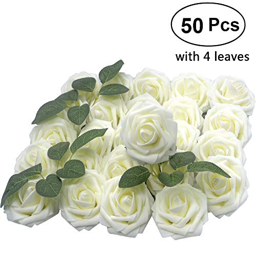 Lmeison künstlichen Blume Rose 50Echt wirkendes Roses W/Vorbau für Hochzeit Blumensträuße Aufsteller Baby Dusche DIY Party Home Décor Elfenbeinfarben