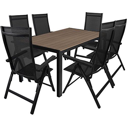 7tlg. Gartengarnitur Aluminium Gartentisch 150x90cm mit Polywood Tischplatte Hochlehner mit 4x4 Textilenbespannung 6-Pos. verstellbar