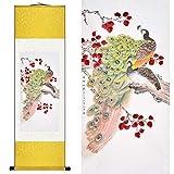 Suuyar Soie Chinoise Aquarelle Fleur Oiseau Peacock Phoenix Encre Art Print Feng Shui Toile Mur Photo Damassé Encadrée Peinture De Rouleau100X30Cm, Paquet Jaune...