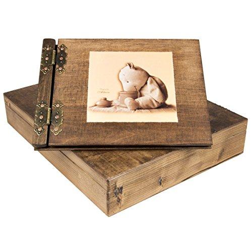 Album photo livre d'or en bois pour enfants bébé Baptême avec nounours 50 pages noires avec boîte Aldecor