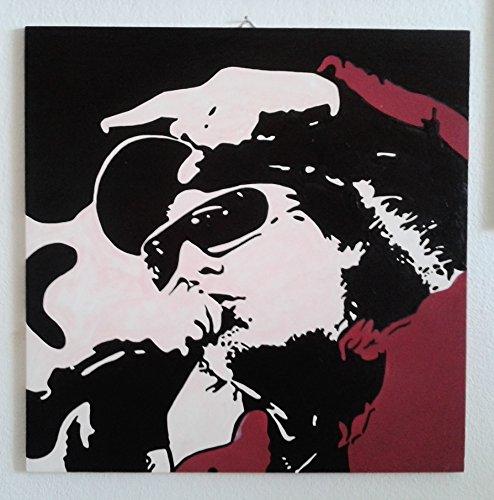 VASCO ROSSI QUADRO MODERNO DIPINTO A MANO POP ART (formato 40 x 40 cm)