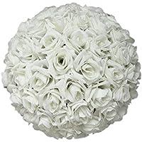 Dragonaur 20,3cm Rose en Soie Boule de fleurs mariage Décoration à suspendre, blanc, Taille M