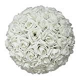 Palla decorativa di rose artificiali in seta da 20,3cm, da appendere o come centrotavola per matrimonio., White, taglia unica