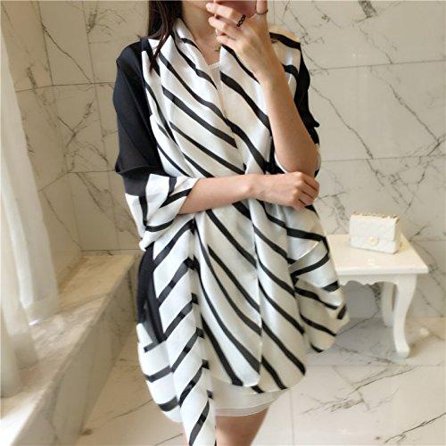 Upper-Schwarz-weiß gestreiften Schal alle-match dünnen Schal Mode Frauen langer Schal, (Schal Schwarz Pudel)
