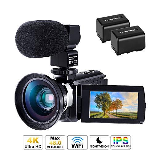 Videocamera 4K, CofunKool WiFi Ultra Alta Definizione 48MP Digitale Videocamera, Sensore CMOS, IR Visione Notturna, 3.0' IPS Schermo, con Microfono e Obiettivo Grandangolare