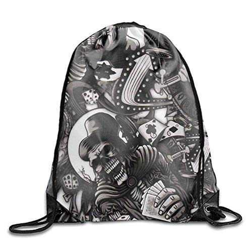 2f80048ad0 Nizefuture Demon Dice Skulls Drawstring Backpack Sport Bags Cinch Tote Bags  for Traveling and Storage