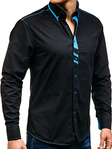 BOLF Herren Hemd Freizeithemd Herrenhemd Langarm Slim Fit Klassisch 2B2 Casual Schwarz