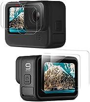 MAXKU [6 pezzi pellicola protettiva in vetro temperato per GoPro Hero 9 Black, 2 pezzi display HD + 2 pezzi pe