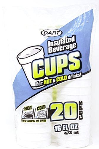 Dart 16Oz Weiß Einweg Drink Becher aus Schaumstoff Hot und Cold Coffee Cup (20Stück) -