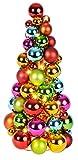 LED Kugelpyramide | Bunt | Weihnachtsbaum | Beleuchtet | 20 LEDs | Kunststoff | Weihnachtsdeko | 43x20 cm