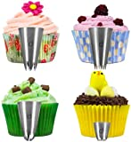 Andrew James 4 Extra Large Sugarcraft Icing Nozzles, Ideal For Decorating Cupcakes With Stars, Flowers, Swirls And Grass Designs, Made Of High Quality 304 Stainless Steel