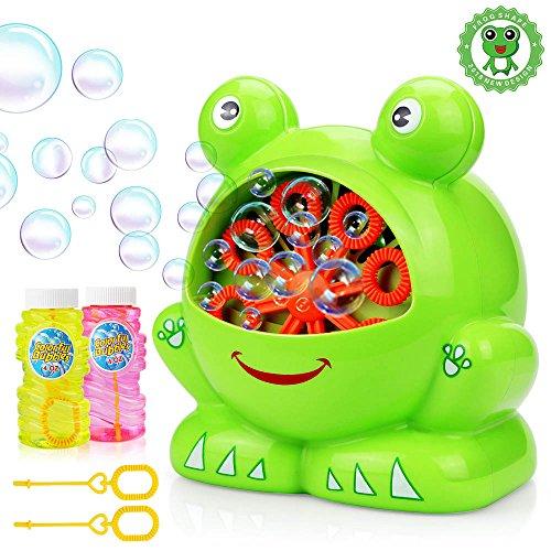 Bubble Machine mit 2 Flaschen von Flüssigkeit, Baztoy Kinder Seifenblasenmaschine Macher Spielzeug Indoor und Outdoor Bubble Maker Spiele für Jungs Mädchen Baby Perfekt für Partys, Hochzeit, Garten, Wedding