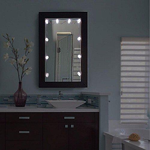 AOLVO Hollywood Style LED Kosmetikspiegel Lichter Kit 10dimmbar Leuchtmittel und Stecker, Beleuchtungen Streifen für Make-up Schminktisch Set in Ankleidezimmer (Spiegel nicht im Lieferumfang enthalten)