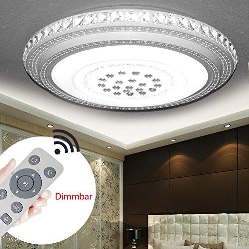 LED Deckenlampe Kristall 72W Dimmbar Sternenlicht Deckenleuchte Lampe Kreative Energiesparlampe für Flur Wohnzimmer Schlafzimmer Küche Büro (Kristall Round-72W Dimmbar)