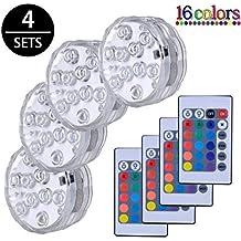 Luces Sumergibles,4PCS Piscina Luz LED Impermeable,Control Remoto Bajo El Agua Luz para
