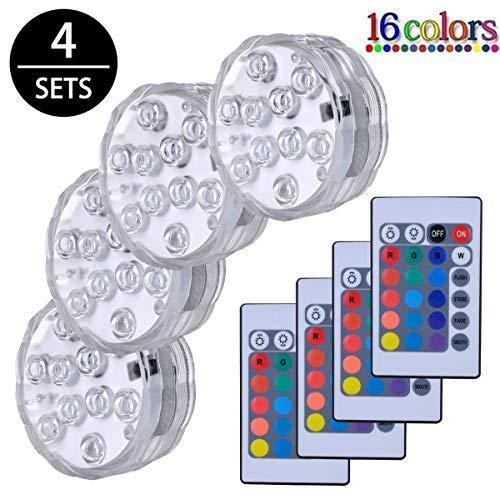 LED Sommergibili Con Telecomando 4 Pezzi,Luce LED Sommergibili,Impermeabile Lampeggiante Luminoso per La Cerimonia Nuziale/Partito/Piscina/Fish Tank Decorazione