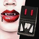 2 Paar Vampirzähne Zahnersatz gefälschte Dracula Werwolf Zähne Kunststoff sexy Prothesen scharfe Zahnprothesen Halloween Kostüm Cosplay Party Zubehör mit 2 Blut Kapsel