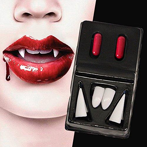 Zahnersatz gefälschte Dracula Werwolf Zähne Kunststoff sexy Prothesen scharfe Zahnprothesen Halloween Kostüm Cosplay Party Zubehör mit 2 Blut Kapsel (Scharfe Zähne-kostüm)