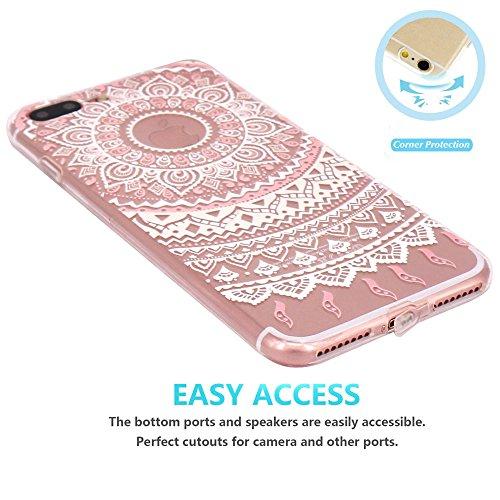 iPhone 7 Plus Hülle, JIAXIUFEN TPU Silikon Schutz Handy Hülle Handytasche HandyHülle Etui Schale Schutzhülle Case Cover Tasche Etui für iPhone 7 Plus (5,5 Zoll) - Pink White Tribal Mandala Dream Catch Color05