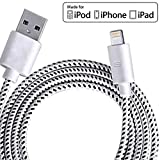 iPhone Charger, Lightning to USB iPhone Cable 6.6ft /2m High Life Span Cable with Compact Connector Head for iPhone 7/ 6s / 6splus / 6 / 6 Plus / SE / 5s / 5c / 5, iPad / Air / Air2 / mini / mini2 / mini3, iPad 4th gen, iPod touch 5th gen, and iPod nano 7th gen (White)