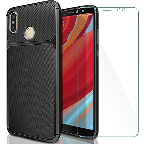 AROYI Funda Xiaomi Redmi S2 + Cristal Templado, Xiaomi Redmi S2 Carcasa & Protector de Pantalla 9H Dureza + Soft TPU Cover para Xiaomi Redmi S2 - Negro + Cristal