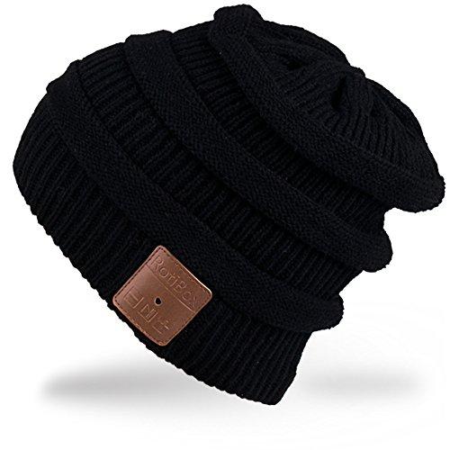 Rotibox Nachladbare Bluetooth Musik-Beanie-Hut Moderne doppelte Knit-Schädel-Kappe mit drahtlosem Stereokopfhörer-Kopfhörer-Ohrhörer Speakerphone Mic für Sport-Eislauf Wandernder kampierendes Weihnachtsgeschenk - Schwarz