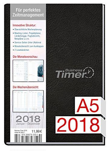Chäff Business-Timer A5 Kalender 2018 schwarz, 12 Monate Jan-Dez 2018 - Terminkalender mit Wochenplaner - Organizer - Wochenkalender - Kalendarium für Projektplanung 2018