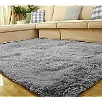 Yontree Tapis de sol Shaggy Confortable Moquette Anti-dérapage Absorbant Velours Décoration 120cm x 80cm Gris