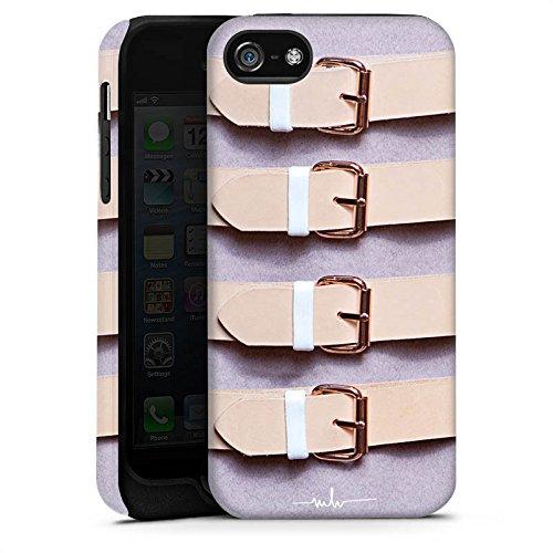 Apple iPhone 5s Housse Étui Protection Coque Boucles lilas Cuir Mode Cas Tough terne