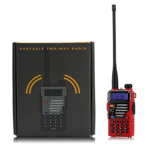 Baofeng Qualette Serie UV-5R Plus/UV5R+ Ricetrasmettitori 136-174/400-480MHz 2M/70CM, Dual -Band, Dual - Display, Dual - Standby, 18CM/7FT Boosted Antenna, Flame Red