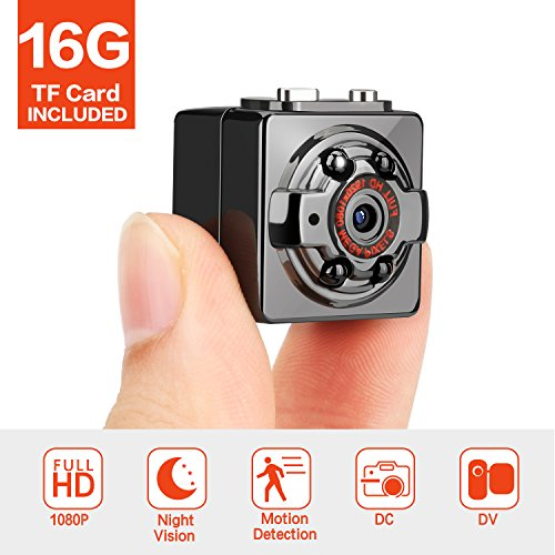 FITFORT Minikamera, FULL HD 1080P 12MP tragbare versteckte Spionage-Kamera mit Nachtsicht, Bewegungserkennung, unterstützt 16GB TF-Karten als Nanny Cam oder für Heim-und Büro-Überwachung (Mini Hd überwachungskamera)
