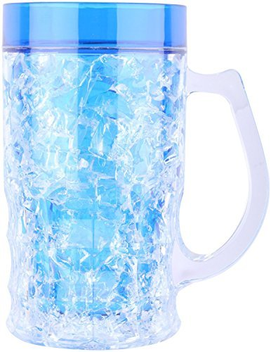 Walaiti Plastic Acrylic Frosty Mug with Freezing Gel for Juice, Beer, Soft Drinks, 1piece, Blue