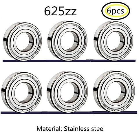 625zz Edelstahl Lager Miniaturlagern Rillenlager für 3D-Drucker Nähmaschine Instrumentarium Precision Machinery 6pcs (625zz (Go Kart Hinterachse)