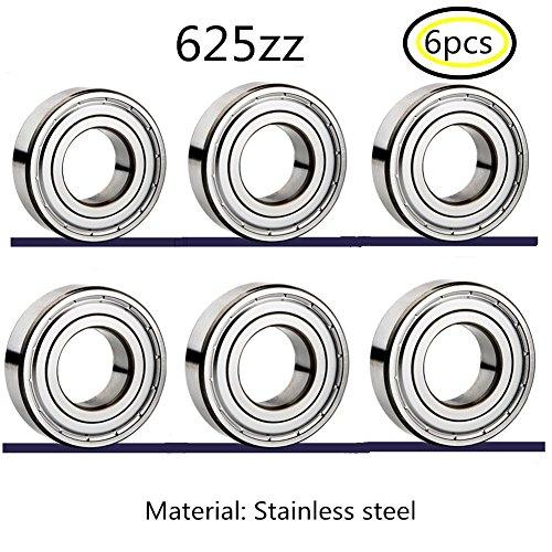 625zz Edelstahl Lager Miniaturlagern Rillenlager für 3D-Drucker Nähmaschine Instrumentarium Precision Machinery 6pcs (625zz 6pcs) (Glas-block-caps)
