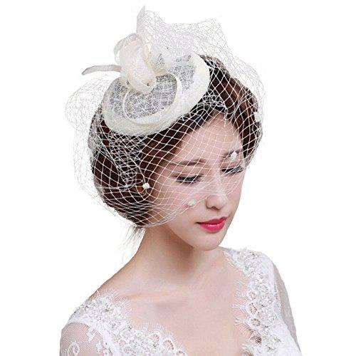 Fascinator Hüte 20er 50er Jahre Hut Haar Clip Accessoire Haarreif Kopfbedeckung mit Schleier Cocktail Tea Party Hochzeit Kirche Haarschmuck Kopfschmuck für Mädchen und Frauen (Mit Schwarzen Schleier Hut)