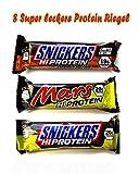 Super leckere Protein Riegel Mix Box HI-LIMITED, 8 Stück (HI Protein & Limited Edition): Limited Edition Snickers HI Protein Peanut Butter , Mars Hi Protein, Snickers HI Protein.