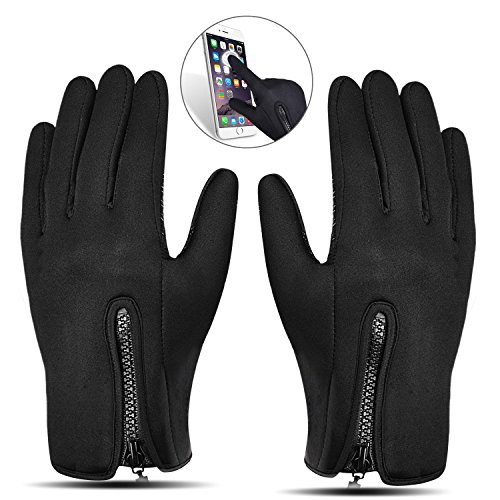 Touchscreen Handschuhe, Aodoor (Grösse L) Herbst Winter Unisex Warme Fahrradhandschuhe Winddicht und Touchscreen für Smartphone Sport Handschuhe Motorrad Jagd Kletter Handschuhe, Schwarz