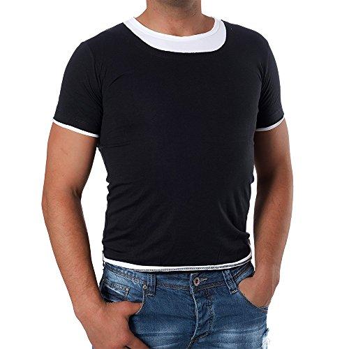 M319 KARIQU Herren Poloshirt T-Shirt Kurzarm Slim Fit 2in1 - Look Schwarz