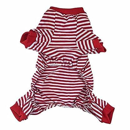 Doggie Style Store Red Striped Dog Pet Cat Pyjamas Sailor Anchor Pajamas Jumpsuit Nightwear Onesie Suit Size S 3