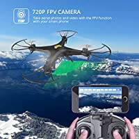 Holy Stone HS110FPV RC Drone with 120° FOV 720PHD Wifi Camera 2.4GHz Live Video 4CH 6-Axis Gyro RC Quadcopter for Beginners and Adults with Altitude Hold, One Key Return and Headless Mode Function RTF - Black