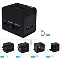NYZA - Universal Travel Adapter with Dual USB Charger Ports (Black), International Worldwide Charger Plug for Phone, Laptop, Camera, Tablet