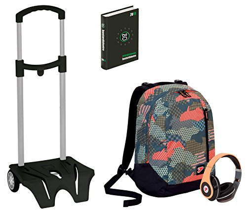 Kit scuola zaino + easy trolley + diario seven - the double camouflage verde - cuffie stereo con grafica abbinata incluse! 2 zaini in 1 reversibile