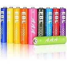 EBL 1000mAh AAA Ni-MH Arco Iris de la Batería Recargable para los Equipos Domésticos (Paquete de 10 Unidades) Color: Multicolor