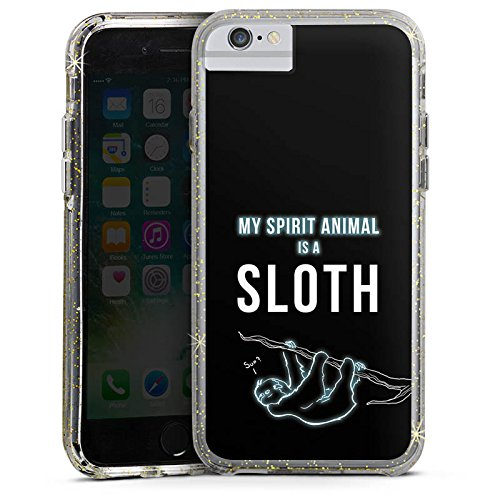 Apple iPhone 7 Plus Bumper Hülle Bumper Case Glitzer Hülle Faultier Sloth Phrases Bumper Case Glitzer gold