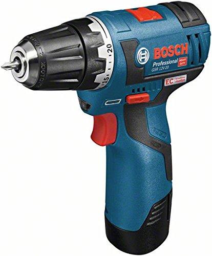 Bosch GSR 12V-20 Professional - Atornillador con tecnología de litio (gama 12 V, motor EC, 2 velocidades, 0 - 400/1300 rpm), negro y azul