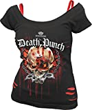 Spiral Women - 5FDP - Assassin - Licensed Band 2in1 Red Ripped Top Black