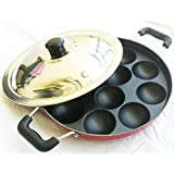 Appam Patra Mak With Stainless Steel Lid -12 Cavities Non-stick