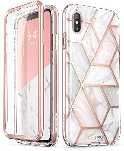 i-Blason iPhone Xs, X Hülle [Cosmo] Glitzer Handyhülle 360 Grad Bumper Case Glänzend Schutzhülle Cover 5.8 Zoll, Marmor - Iphone-tastatur-case